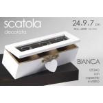 Scatola legno bianca portatutto the tisane 3 scomparti cm. 24x9x7 cuore