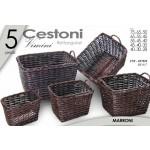 Set 5 ceste rettangolari in vimini intrecciato marrone cesta con manici