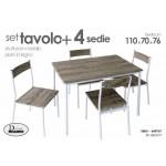 Set tavolo cucina con 4 sedie metallo legno cm 70x110x76 h marrone