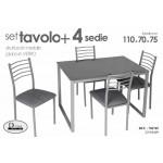 Tavolo da pranzo 4 sedie struttura metallo piani in legno 110 x 70 x 76 cm