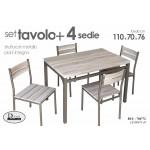 Set tavolo da pranzo in metallo + 4 sedie imbottite colore grigio 110x70x75cm