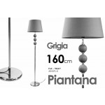 Lampada piantana grigia base in metallo design arredo casa cm 160 h