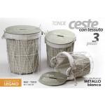 Set 3 ceste portabiancheria in tessuto tonde metallo bianco coperchio in legno