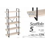 Scaffale libreria in metallo nero industrial 5 ripiani in legno 100x33xh.179 cm