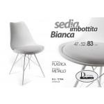 Sedia seduta in plastica imbottita bianca gambe in metallo design