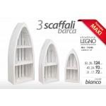 Set 3 scaffali in legno bianco forma barca arredo decorazione casa