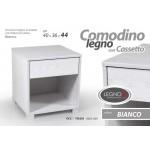 Mobile comodino 1 cassetto + vano in legno truciolato bianco 40x36x44 cm