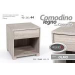 Mobile comodino 1 cassetto + vano in legno truciolato colore rovere 40x36x44 cm