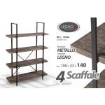 Scaffale libreria in metallo 4 ripiani in legno colore noce 100x33x140 cm industrial