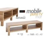Mobile porta tv in legno mdf 165x45x40 cm colore naturale