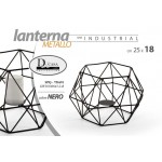 Lanterna porta candele 25x18 cm in metallo nero serie industriale