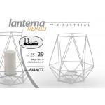 Lanterna porta candele 25x29 cm in metallo bianco serie industriale