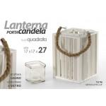Lanterna porta candele 17x17x27 cm in legno bianco con bicchiere in vetro