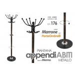 Appendiabiti piantana marrone in metallo base marmo 176 cm con porta ombrelli