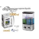 Dispenser erogatore sapone liquido doppio da parete dosatore a muro 1 lt cromo