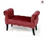 Panca camera da letto in velluto rosso panchetta imbottita dormeuse divanetto