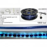 Tubo luminoso natale 50 metri 2 vie 1800 luci blu divisibile