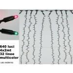 Decorazione luminosa tenda 640 luci 4 x 2 metri 32 linee multicolor