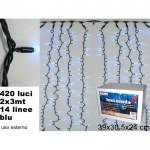 Tenda 420 luci 2 x 3mt 14 linee blu uso esterno