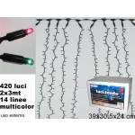 Decorazione luminosa tenda 420 luci 2 x 3 metri 14 linee multicolor