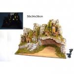 Paesaggio natale vuoto con luci casette e scale 58x34x39cm