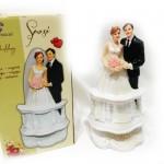 Statuine coppia sposi su balcone cm 17 decorazione torta nuziale matrimonio