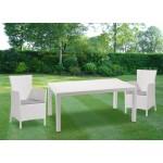Tavolo in resina bianco 160x94x74h cm effetto polirattan