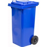 Pattumiera bidone spazzatura lt.120 con ruote blu