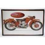 Targa pubblicitaria vintage in metallo insegna moto guzzi 17,5 x 11,5 cm