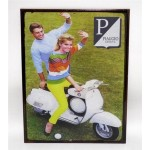 Targa pubblicitaria vintage in metallo insegna Vespa Piaggio Genova 17,5 x 23 cm