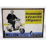 Targa pubblicitaria vintage in metallo insegna Vespa economie 23 x 17,5 cm