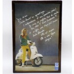 Targa pubblicitaria vintage in metallo insegna Vespa Piaggio 11,5 x 17,5 cm