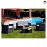 Salotto da giardino esterno poli rattan set salottino divano tavolino grigio