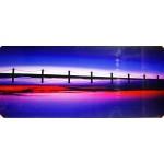 Quadro moderno stampa digitale su legno raffigurazione tramonto ponte 120x50x4