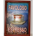 Quadro favoloso espresso tazza in rilievo cm 54x39 legno locale bar