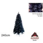Albero di Natale 240cm blu effetto ghiaccio realistico folto apertura a ombrello