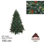 Albero di Natale 150 cm verde realistico molto folto 637 punte con bacche pigne