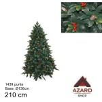 Albero di Natale 210 cm verde realistico molto folto 1439 punte con bacche pigne