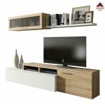 Parete attrezzata tv moderna kit mobile soggiorno sospeso in legno rovere bianco