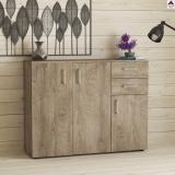 Madia credenza moderna soggiorno con 3 ante e 2 cassetti mobile in legno rovere