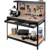 Porta utensili attrezzi tavolo da lavoro officina banco c/parete 121x61x93/150h