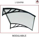 Pensilina policarbonato compatto 120 x 80 tettoia trasparente modulabile esterno