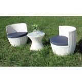 Salotto divano poltrone impilabile bianco in polirattan poltrone + tavolo panna