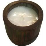 3 pz candela etnica in bamboo cilindrica cm.10x10 da giardino