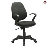 Sedia ufficio scrivania poltrona girevole ergonomica in tessuto nera con ruote