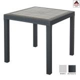 Tavolo tavolino da esterno giardino antracite quadrato in resina effetto rattan