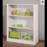 Libreria moderna bianca legno massello scaffale mobile ripiani mensole soggiorno