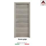 Porta interna a battente legno mdf laminato reversibile rovere grigio 210x70 cm