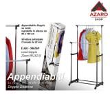 Stand appendiabiti doppio cormato con ruote altezza regolabile stender