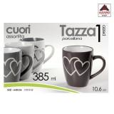 Tazza mug in porcellana da latte decorazione cuori cuore 385 ml 4 pz assortiti